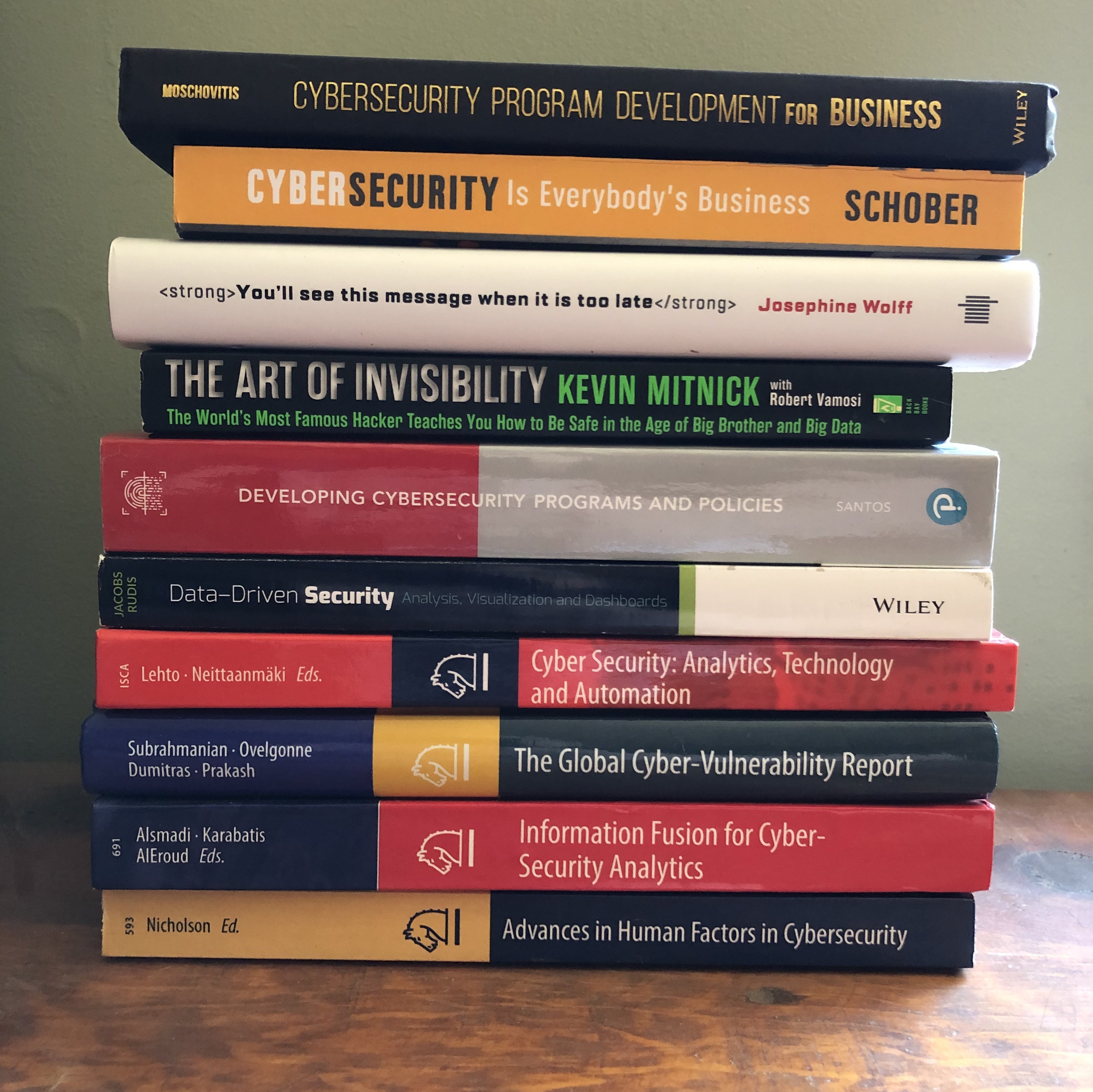 Stack of cybersecurity books