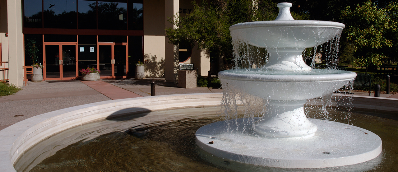 Hero Image of water fountain outside of Macey Center