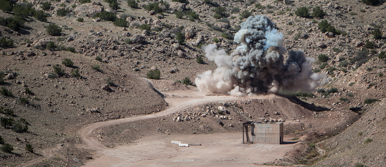 Hero Image of an explosion at the EMRTC Research Site