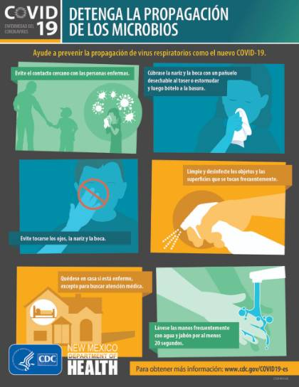 CDC graphic in Spanish explaining what can be done to help prevent the spread of coronavirus