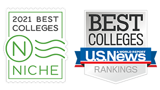 Logos for Niche.com's 2021 Best Colleges and U.S. News and World Report's College Rankings